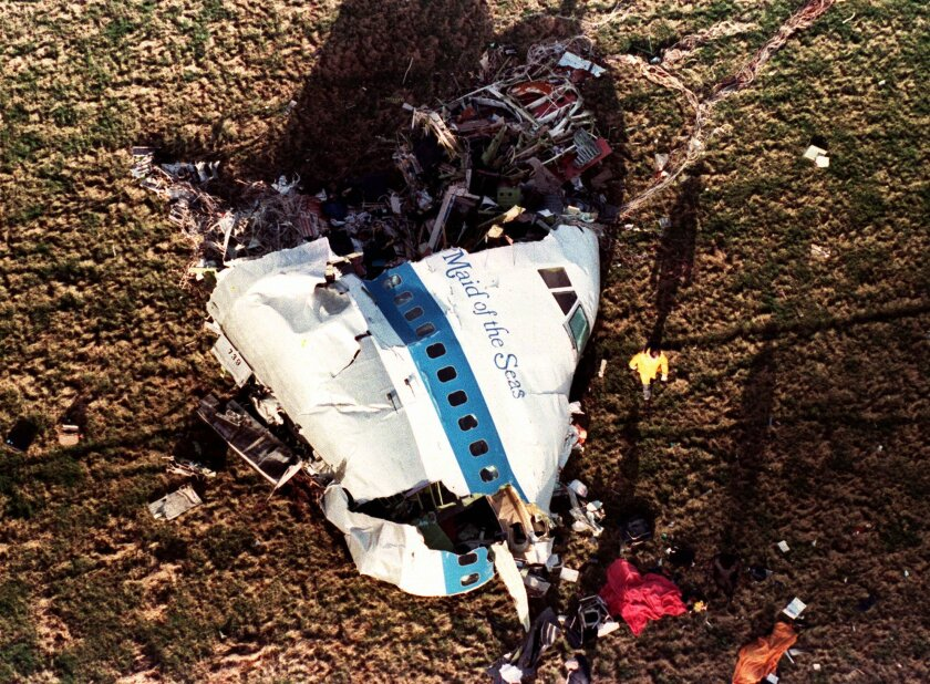 A large piece of the nose of Pan Am 103 in a field in Lockerbie, Scotland, after a bomb on the plane exploded