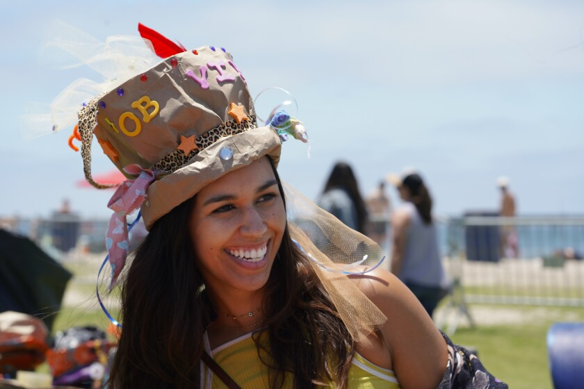 A hat creation at the Celebrate the OB Vibe festival Saturday.