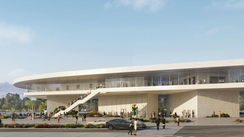 The proposed LACMA as seen from Wilshire Boulevard,