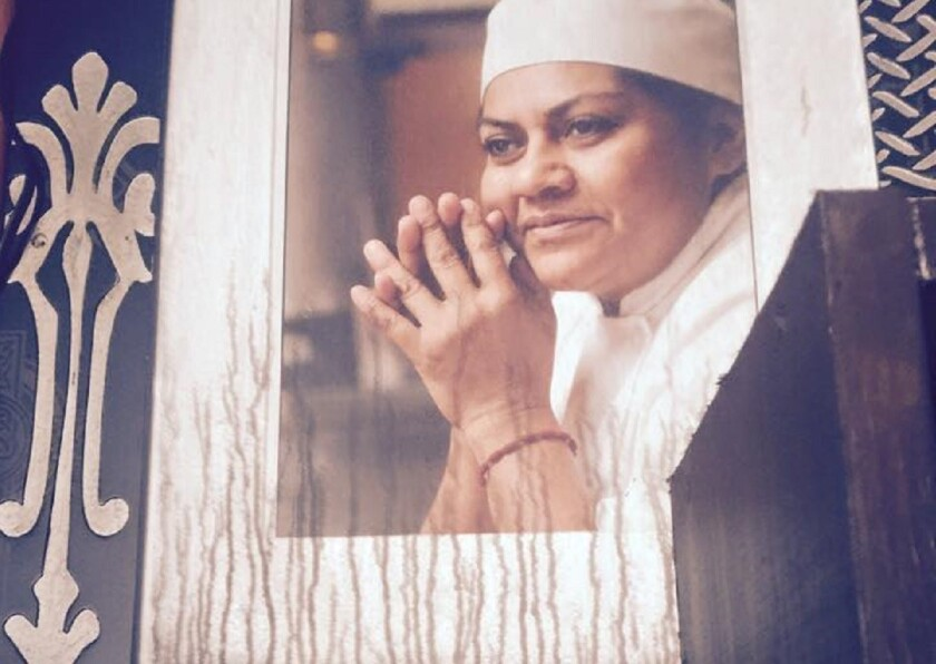 A portrait of chef Rocio Camacho was smeared with smoke after a fire gutted her Sun Valley restaurant, Rocio's Mole de los Dioses.