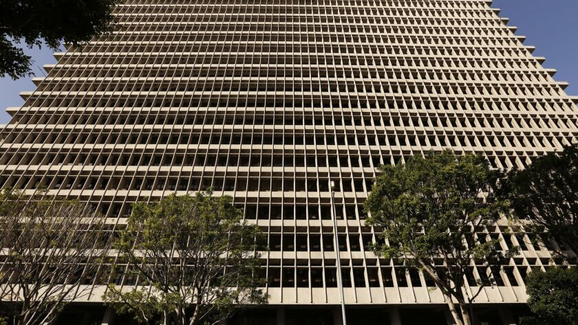 The Clara Shortridge Foltz Criminal Justice Center, where Los Angeles police officers placed hidden recording devices on the inmates' side of an interview room in July, a court document says.
