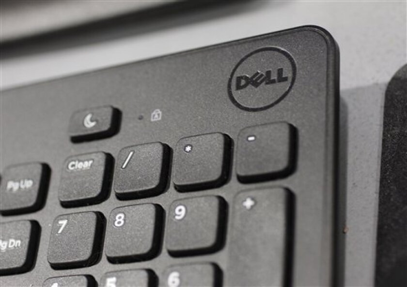 FILE - In this Monday, Aug. 20, 2012, file photo, a Dell keyboard is shown at a Best Buy store in Mountain View, Calif. Dell's stock soared nearly 13 percent Monday, Jan. 14, 2013, on a report that the struggling personal computer maker is in talks to take the company private. (AP Photo/Paul Sakuma, File)