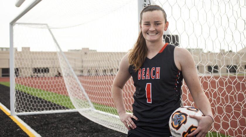 Huntington Beach High senior Rachel Harris is playing both varsity soccer and basketball this winter for the Oilers.