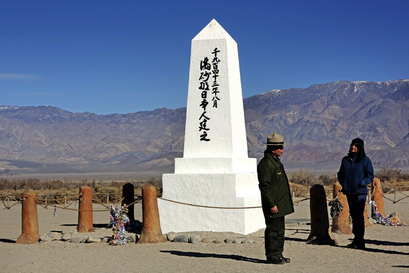 Monument at the cemetery at Manzanar National Historic Site