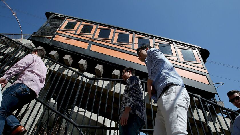 LOS ANGELES, CALIF. - OCT 11, 2013. The Angels Flight funicular has been shut down, forcing downtown