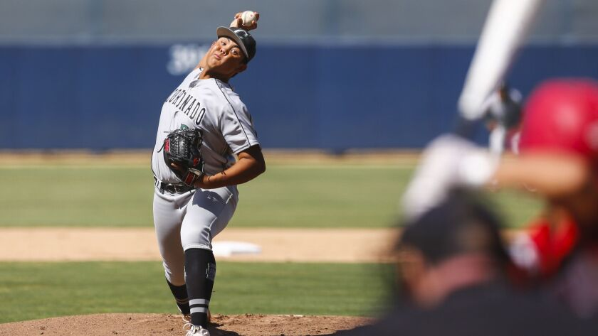 Coronado pitcher Raden Perry turned in a solid performance in the Islanders' win over Imperial for the Division III title.