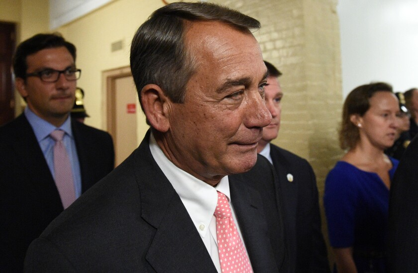 House Speaker John Boehner (R-Ohio) leaves after announcing his resignation on Capitol Hill on Friday in Washington, D.C.
