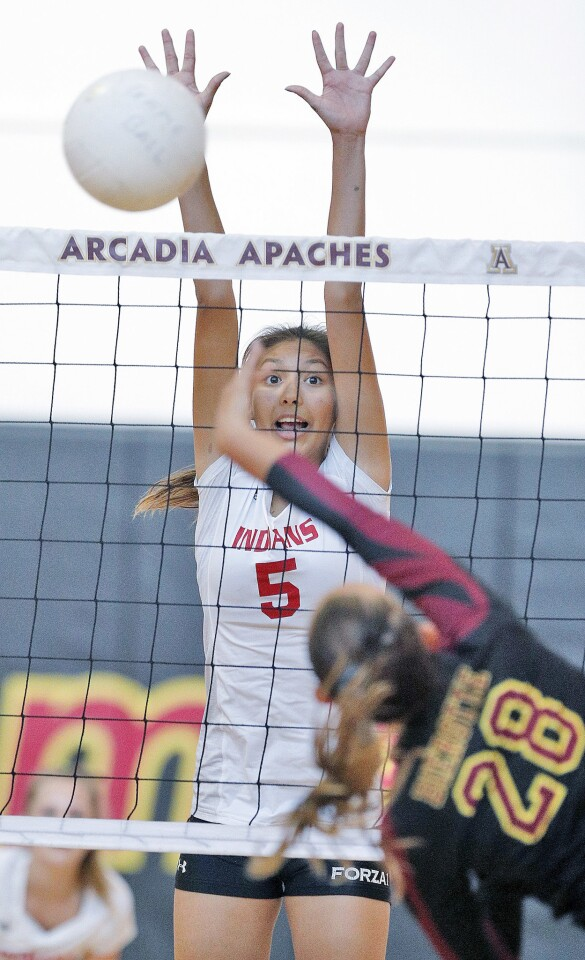 Photo Gallery: Burroughs vs. Arcadia in Pacific League girls' volleyball