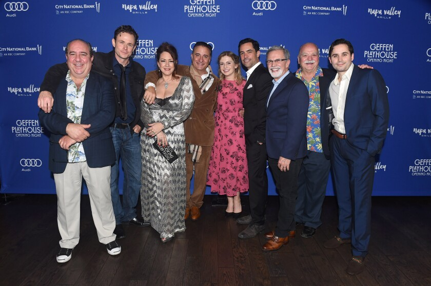 """Louis Mustillo, left, Bradley Snedeker, Joely Fisher, Andy Garcia, Rose McIver, Danny Pino, Tony Plana, Richard Riehle and Stephen Borrello at the opening night of the play """"Key Largo"""" at Geffen Playhouse."""
