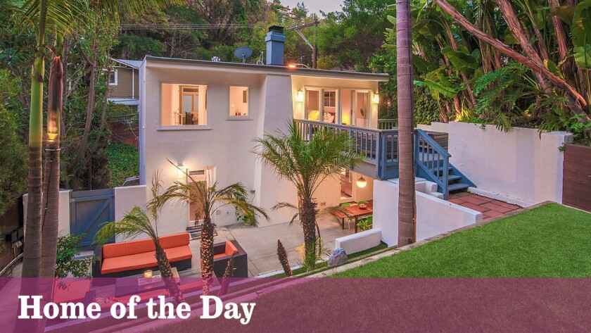 A range of tropical landscaping provides cover for this 1967 contemporary in Laurel Canyon.