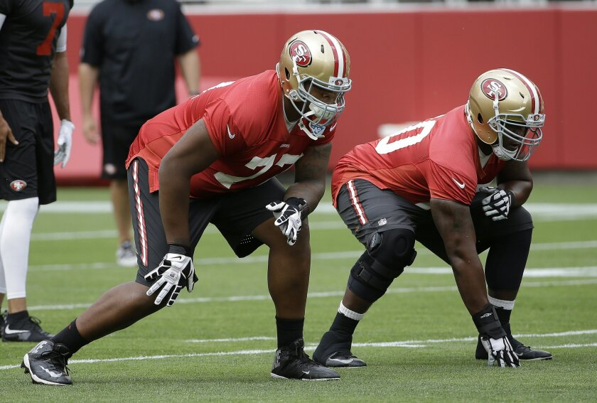 reputable site 2874f 14915 Rookie O-lineman Trent Brown finding way with 49ers - The ...