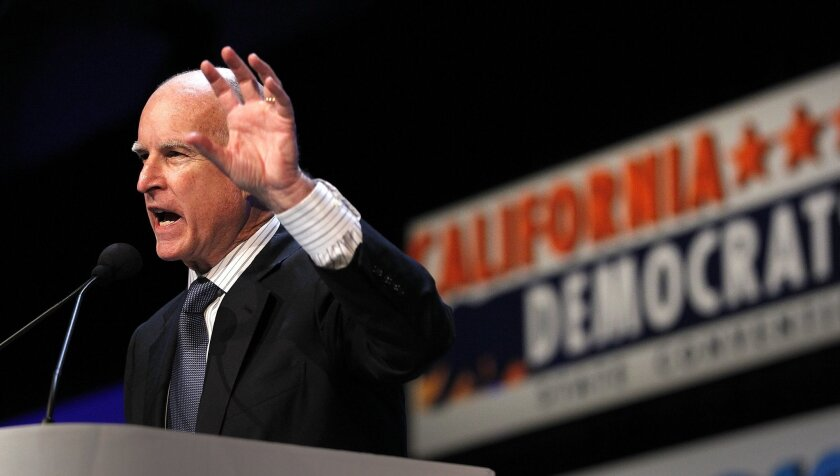 California governor Jerry Brown spoke to a group gathered in Hall C at the convention center and told of his unwavering support for high speed rail.