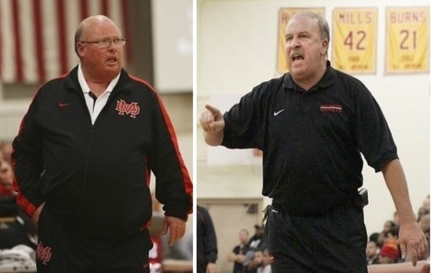 Legendary high school basketball coaches Gary McKnight, left, and Ed Azzam.