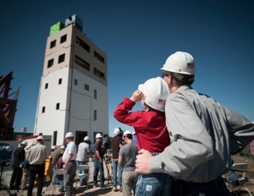UCSD engineers shook a five-story toward at its Scripps Ranch site while simulating quakes of various sizes.