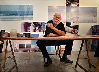 John Baldessari in his Santa Monica studio. Because some images took on different meanings  after Sept. 11, the conceptual artist replaced them in pieces he was working on.