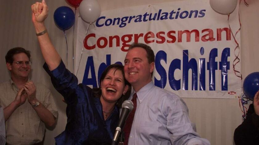 Then-state Sen. Adam Schiff and his wife, Eve, celebrate the morning after being elected to Congress on Nov. 8, 2000.