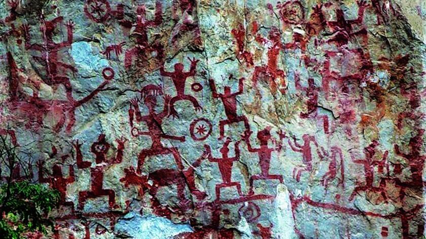 Rock paintings at Ningming Huashan, China.