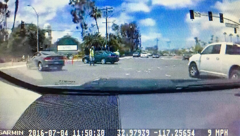 Dash cam view with identifying information