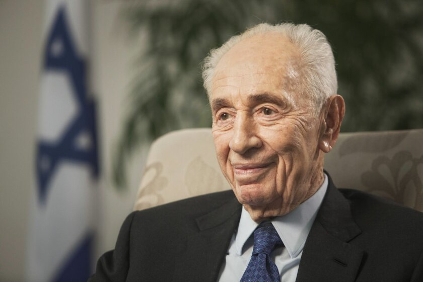 FILE - In this Nov. 2, 2015 file photo, former Israeli President Shimon Peres speaks during an interview with The Associated Press in Jerusalem. A spokeswoman for Israel's former President Shimon Peres says the 92-year-old is being rushed to hospital after experiencing chest pains it was reported on Sunday, Jan. 24, 2016. (AP Photo/Dan Balilty, File)