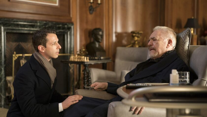 """Jeremy Strong, left, portrays Kendall, who aims to take over the business from his media mogul father Logan Roy, played by Brian Cox, in """"Succession."""""""