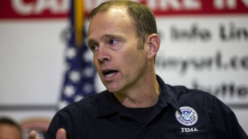 FEMA Administrator Brock Long speaks during a news conference on the Camp fire in Chico, Calif., on Nov. 14.