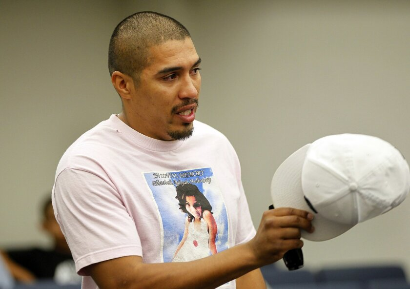 Willie Holloway Jr. speaks in San Diego Superior Court on Tuesday during the sentencing of his daughter's mother, Crystal Cardenas, in the girl's killing. Elizabeth Holloway was 9 when she died.