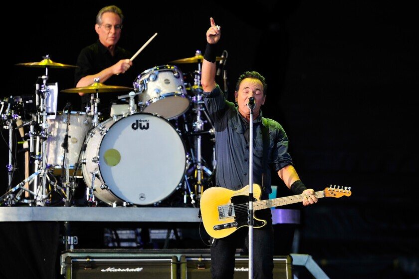 "Bruce Springsteen, shown with E Street Band drummer Max Weinberg at a performance last month in London, is the focus of the new fan-generated documentary ""Springsteen and I"" screening Monday and July 29 in select theaters in the U.S."