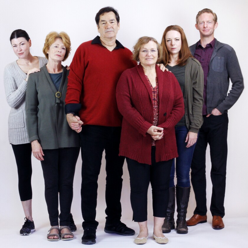 "Amanda Sitton, Rosina Reynolds, Jeff Meek, Elizabeth Dennehy, Kate Rose Reynolds and Brian Mackey make up the cast of San Diego Rep's ""The Humans."""
