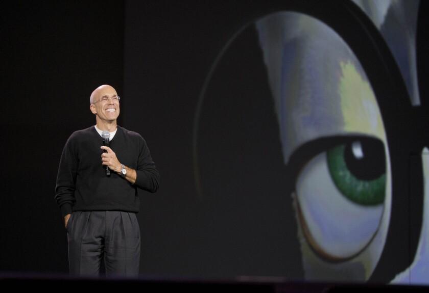 Jeffrey Katzenberg speaks at the International Consumer Electronics Show in Las Vegas on Jan. 6.