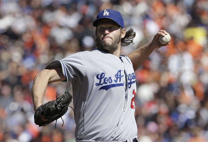 Clayton Kershaw throws against San Francisco on Oct. 1.
