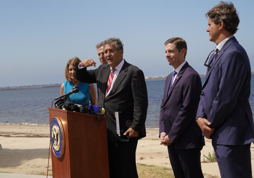 Reps. Juan Vargas, Susan Davis, Scott Peters and Mike Levin and Imperial Beach Mayor Serge Dedina held a press conference at Bayside Park on Chula Vista's waterfront on Monday, July 22, 2019. The group announced the introduction of their Tijuana River Valley Pollution Solution bill.