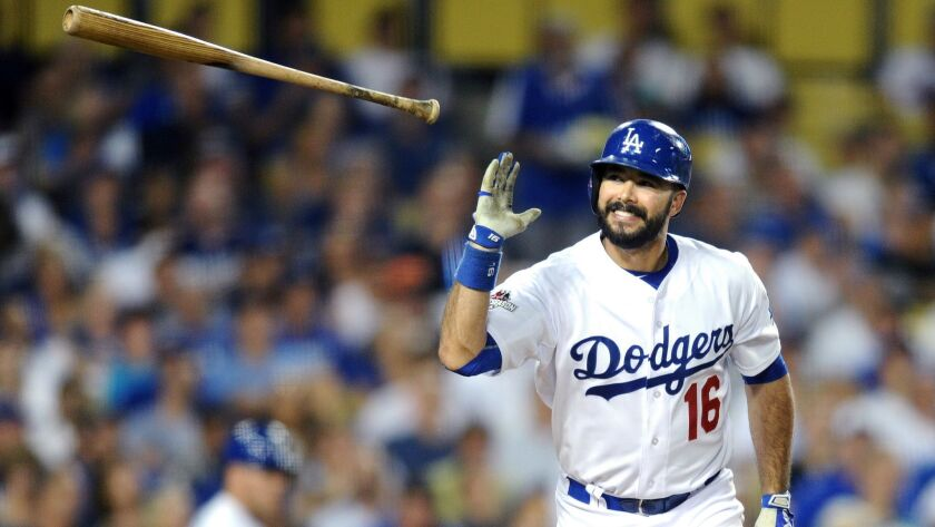 LOS ANGELES, CALIFORNIA OCTOBER 9, 2015-Dodgers hitter Andre Ethier pops up for an out in the 6th in