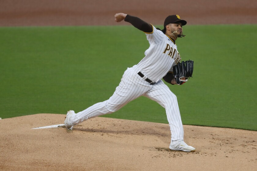 Padres pitcher Dinelson Lamet throws against the Pittsburgh Pirates.