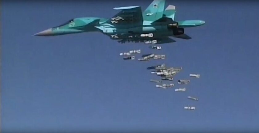 An image from video on the Russian Defense Ministry website shows a Russian Sukhoi Su-34 fighter bomber releasing its payload in Syria.