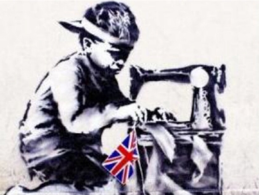 """""""Slave Labour,"""" a mural attributed to British street artist Banksy, is to be sold in London in June."""