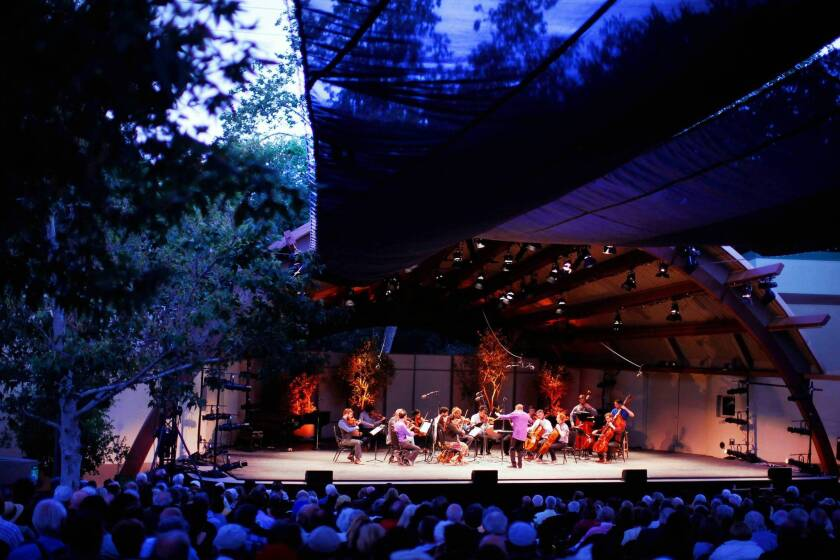 The MMDG Music Ensemble performs at the Libbey Bowl during the Ojai Music Festival.