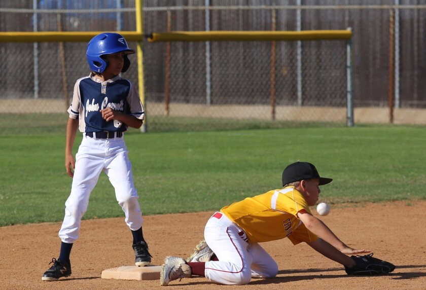 Costa Mesa's Roxie Shaia hits a double during the Costa Mesa Little League No.1 team playing Hunting