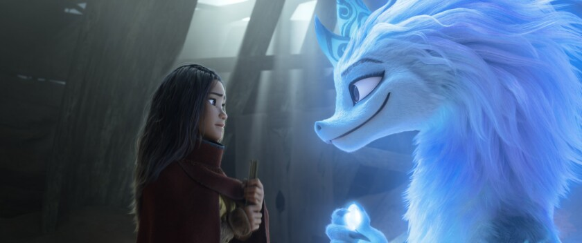 """Raya (voiced by Kelly Marie Tran) and Sisu (voiced by Awkwafina) in the movie """"Raya and the Last Dragon."""""""