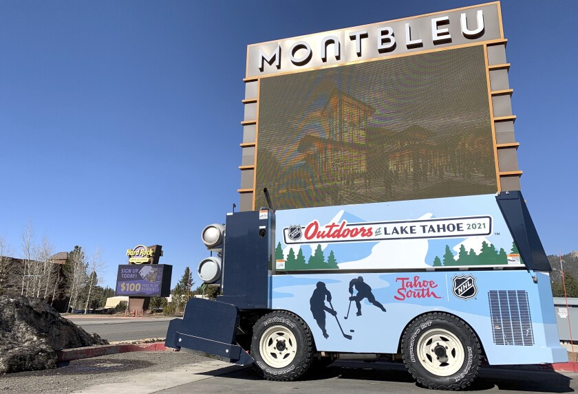 This photo taken Thursday, March 4, 2021, in the parking lot of the Montbleu hotel-casino in Stateline, Nevada shows the Zamboni the NHL donated to Tahoe South Event Center to utilize for ice events in the multi-purpose facility after two NHL games were played last month on an outdoor ice rink built on the golf course across the street at Edgewood Tahoe Golf Course in Stateline, Nev. (Mike Peron/The Tahoe Tribune via AP)