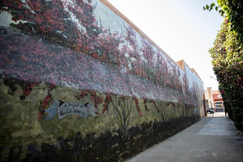 A mural seen in Arts Alley in downtown El Cajon. Sophie's Gallery and Gift Shop will host the Alley Cat Art Walk on Sept. 17.