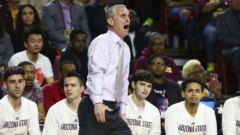 Arizona State head coach Bobby Hurley yells at the officials during the first half of an NCAA colleg