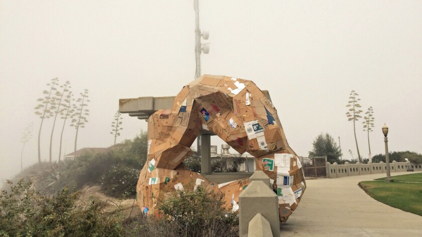 """An installation by Michael Parker at Point Fermin Park in San Pedro riffs on the history of the triumphal arch as part of the public art biennial """"Current: LA Water."""""""