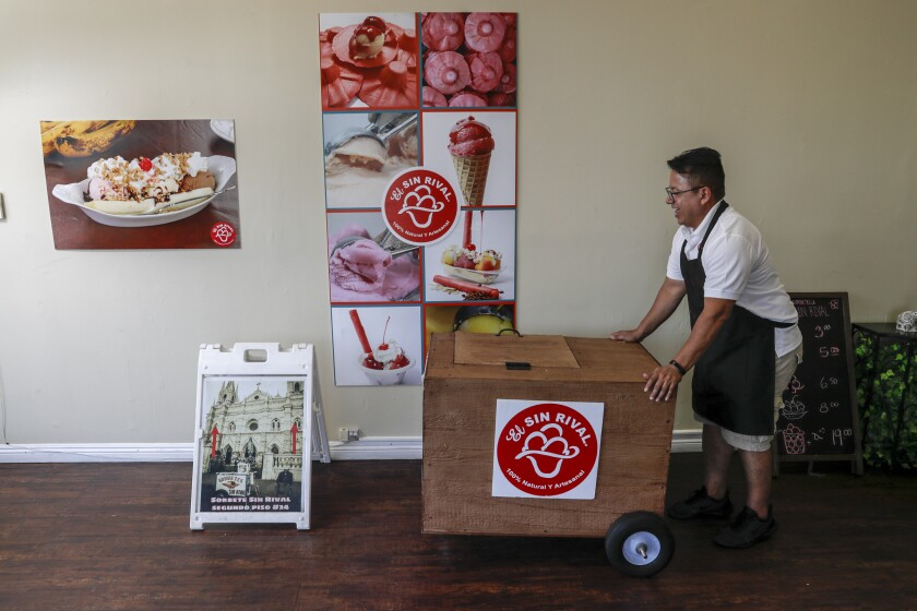 """Joseph Bernal has brought Salvadoran sorbet cart El Sin Rival, founded by his grandfather, """"up north"""" to Los Angeles."""