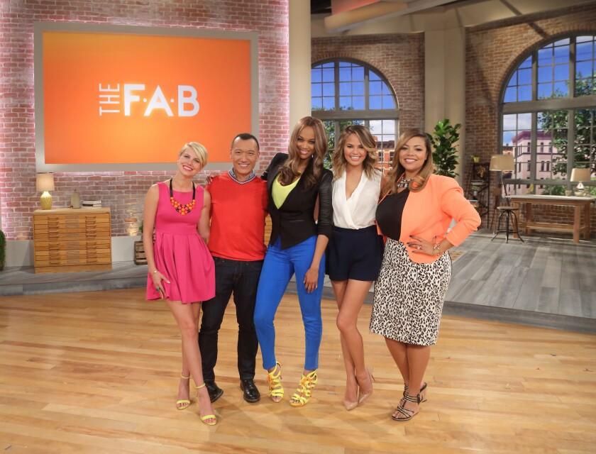 """Leah Ashley, left, Joe Zee, Tyra Banks, Chrissy Teigen, Lauren Makk in a gallery shot for """"The F.A.B."""""""