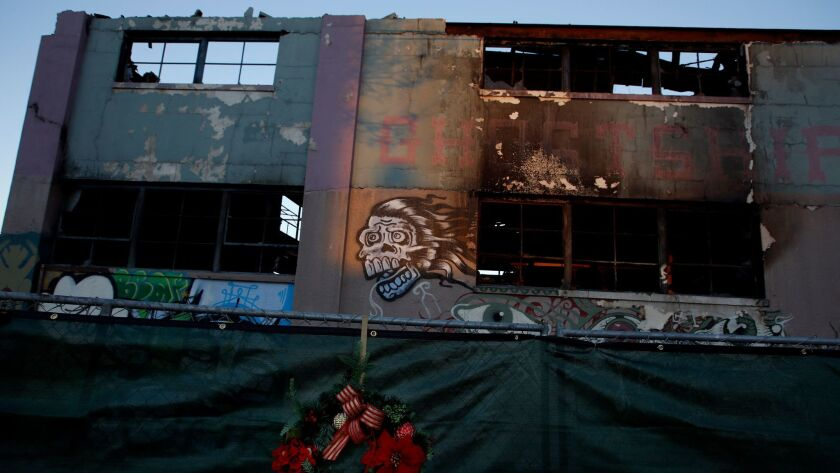 An artists loft called the Ghost Ship is gutted after a fire that killed 36 people Dec. 2, 2016.