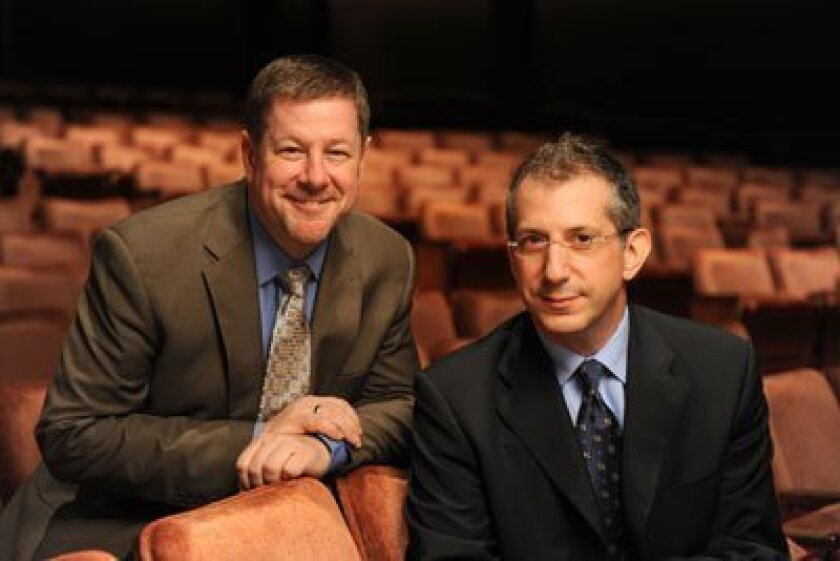 The Old Globe's Managing Director Michael G. Murphy (left) welcomes new Artistic Director Barry Edelstein. Photo/Doug Gates
