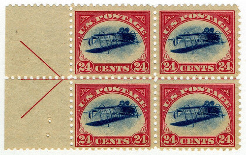24c Curtiss Jenny inverted block of four, 1918.