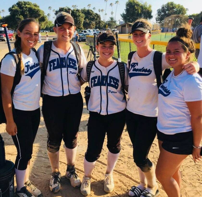 Then-teammates Savannah Ames, Maddie Jacobs, Faith Via, Rileigh Taylor and Autumn Perry after a travel ball tournament.