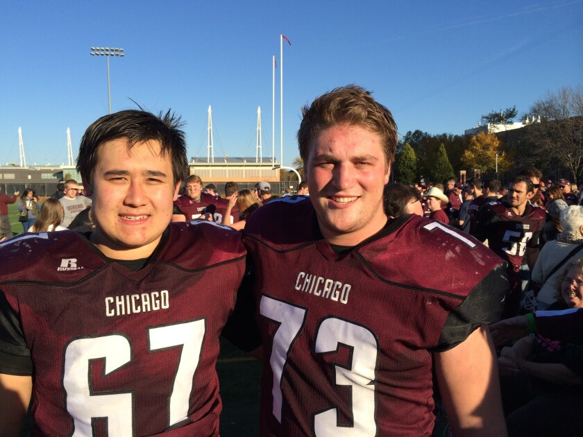 TextEditor Andrew Maneval (left) and Scott Mainquist were teammates on the Torrey Pines High School football team during their high school years. Both went to the University of Chicago where each was awarded the Amos Alonzo Stagg Medal in his senior year.