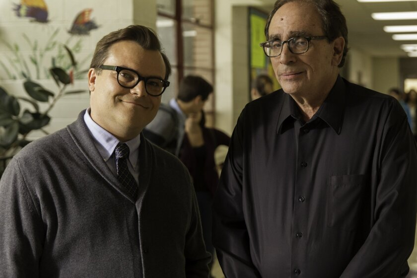 """Jack Black, left, and R.L. Stine on the set of Columbia Pictures' movie """"Goosebumps."""""""